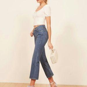 Reformation Mid Crop Flare Jeans in Mesa Stripe